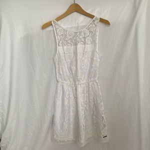 Abercrombie & Fitch Cream Floral Lace V Back Dress